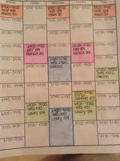 Completed schedule