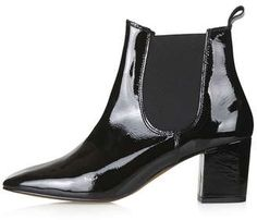 Topshop Mary Patent Chelsea Boots as seen on Selena Gomez Black Leather Chelsea Boots, Patent Leather Boots, Short Black Boots, Leather Booties, Beatle Boots, Black Ankle Booties, Fall Booties, Fashion Boots, Women's Fashion