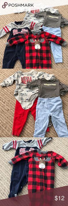 4 piece set. 2 pairs of pajamas & 2 outfits Baby basics. 2 pairs of carters pajamas & 2 outfits sets. Gently used 9 months Carter's Pajamas