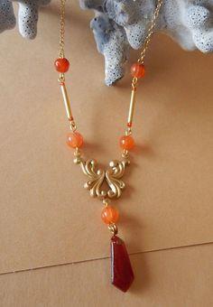 Art Nouveau Style Necklace Repousse Brass Carnelian Glass Pendant #Pendant