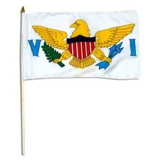 U.S. Virgin Islands Flag 12 x 18 inch by US Flag Store. $2.10. Imported. Mounted on a 24 Inch Wood Stick with Spear Tip. A Quality Printed Flag with Sewn Edges. Low Cost Shipping Available. U.S. Virgin Islands Flag. High quality U.S. Virgin Islands Flag 12 x 18 inch, mounted on a 24 inch wooden stick. This state flag is made from polyester and printed in bright colors. The flag is attached to the stick with a sleeve and not staples. Each flag is individually sewn around the...