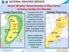 says For The Little Rock Metro & Central Arkansas: Scattered Showers & Thunderstorms. One Or Two Possibly Strong To Severe. Lo 70. Saturday Thru Monday: Scattered To Numerous Showers & Thunderstorms. A Few Strong To Severe At Times. Hi Saturday 84 & Lo 69. Hi Sunday 83 & Lo 66. Hi Monday 79. Monday Night: Scattered Thunderstorms. Lo 59. Tuesday Thru Thursday: Cloudy With Widely Scattered Showers & T'Storms. Hi's Near 75 & Lo's Near 60. - www.weather4ar.org/ - D.Poole
