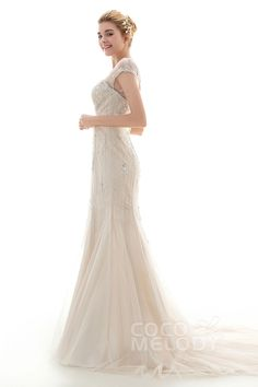 Glamour Trumpet-Mermaid Illusion Dropped Court Train Satin and Tulle Ivory/Champagne Cap Sleeve Open Back Wedding Dress with Embroidery and Beading CWLF16001 #wedding #custom dresses #cocomelody #wedding dresses
