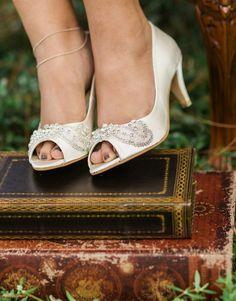 Bridal peep toe ivory satin shoes