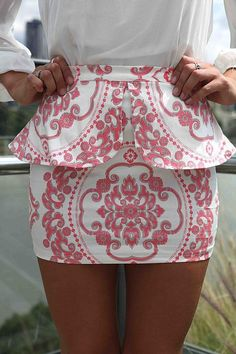 Preppy pink skirt.