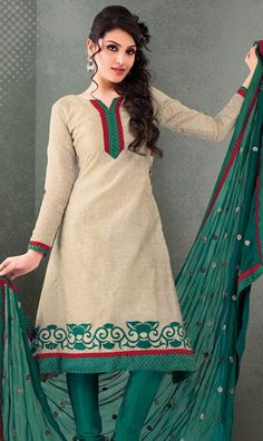 $63.7 Cream Embroidered  Cotton Churidar Salwar Kameez 23944