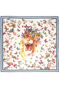 Alexander McQueen Butterfly-print modal and silk-blend scarf | NET-A-PORTER theme for my tattoo