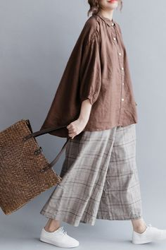 Casual Linen Pure Short Shirt Women Shirt Sleeve Shirt for - FantasyL. - Women's style: Patterns of sustainability Linen Dresses, Women's Dresses, Casual Dresses, Hijab Fashion, Fashion Dresses, Fashion Boots, Short Shirts, Mode Hijab, Shirt Sleeves