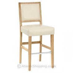 Jasper Leather Bar Stool Oak & Cream seat height 67  to back 105