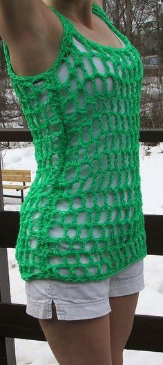 Crochet Tank Top Neon Green Summer Top by BeadGs on Etsy, $25.00