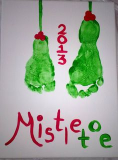 Making Mistletoe with both the kids feet.  Adorable gift or great decoration for your home.
