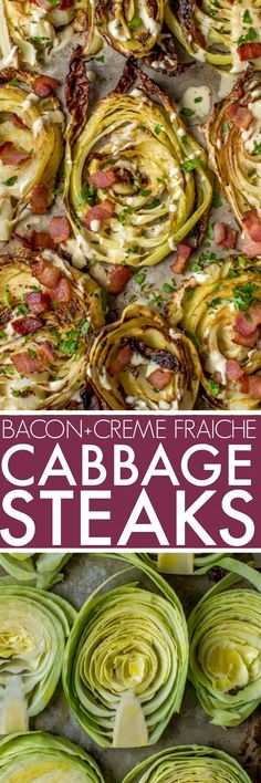 Roasted Cabbage Steaks with crispy bacon & garlicky creme fraiche via @platingspairing