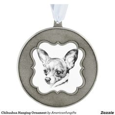 Chihuahua Hanging Ornament Scalloped Pewter Christmas Ornament