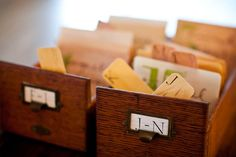 vintage library boxes used to hold escort cards