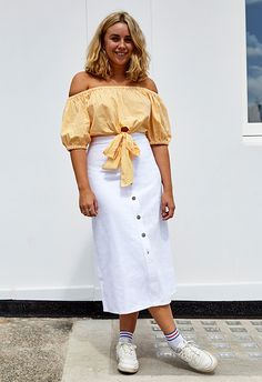 Before the thought of a button-down denim maxi brings you more Sabrina The Teenage Witch vibes than you care for, let us introduce you to this crisp white version. Admittedly it's not one for the klutzes (holler), but it'll look summery with a pop of colour, like this lemon-yellow gingham top. Just add trainers to keep it low key