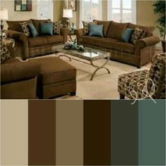 Kitchen Colour Schemes, Kitchen Colors, Color Schemes, Colour Pallete, Color Palettes, Color Combos, African Living Rooms, Coffee Theme Kitchen, Living Room Sofa Design