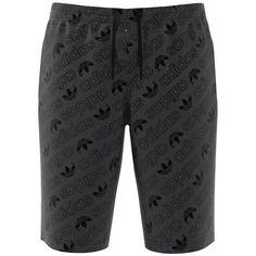 Adidas Men's Logo Cotton Shorts ($49) ❤ liked on Polyvore featuring men's fashion, men's clothing, men's shorts, carbon, mens elastic waist drawstring shorts, mens cotton shorts, adidas mens clothing, mens clothing and men's apparel