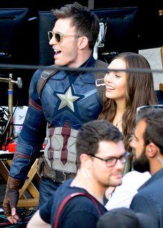 "Chris Evans and Elizabeth Olsen on the set of ""Captain America: Civil War"""