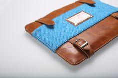 Windsor Briefcase. Herringbon Light Blue