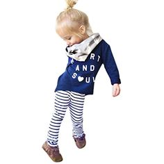 Alphabet long sleeve t-shirt stripe trousers Toddler Girl Outfit Clothes Letter Print T-shirt Tops+Stripe Long Pants Little Girl Outfits, Toddler Girl Outfits, Cute Outfits, Photoshop, People Cutout, T-shirt Bleu, Girls Dress Up, Costume, Long Pants