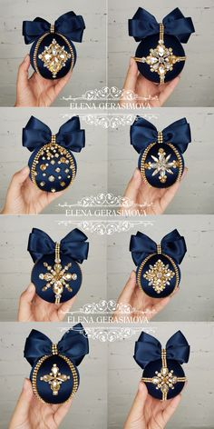 This elegant navy blue ornaments are hand-made, with a unique rhinestones design, perfect for your home decor! Set is packed in beautifule gift bo… Beaded Christmas Ornaments, Christmas Decorations, Blue Christmas Decor, Elegant Christmas, Handmade Ornaments, Felt Christmas, Homemade Christmas, Xmas Tree, Christmas Projects