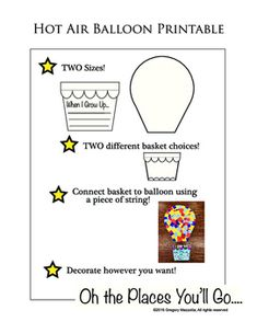 """Hot air balloon printable for Dr Seuss, """"Oh the places you'll go..."""" art activity. Perfect for door and bulletin board decorations."""