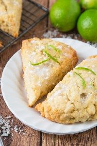 These Lime and Coconut Scones bring a taste of the tropics to a dull winter's day! Served with a coconut glaze, these are a perfect way to start the day! Breakfast Scones, Breakfast Recipes, Dessert Recipes, Desserts, Scone Recipes, Breakfast Bites, Sweets Recipe, Bread Recipes, Bread Baking
