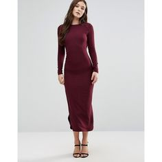 Twin Sister Long Sleeve Maxi Dress ($40) ❤ liked on Polyvore featuring dresses, purple, long sleeve purple dress, high neck bodycon dress, purple bodycon dress, high neck maxi dress and open back maxi dress