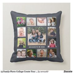 13 Family Photo Collage Create Your Own Gray Throw Pillow
