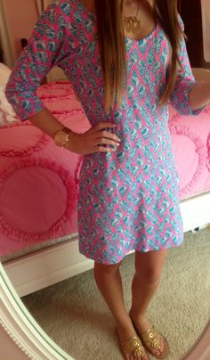 "Lilly Pulitzer Eliza V-Neck T-Shirt Dress in ""A Little Tipsy"" (Summer 2013)"