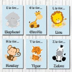 Baby Boy Nursery Art Jungle Nursery Decor by PerfectLittlePrints