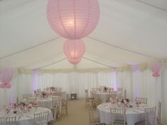 Over sized pink paper lanterns in a Communion Marquee Marquee Hire, Marquee Wedding, Pink Paper, Paper Lanterns, Communion, Luxury Wedding, Chandelier, Ceiling Lights, Party