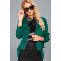 A Calin  Self Expression Teal Blue Vegan Suede Moto Jacket ($69) ❤ liked on Polyvore featuring outerwear, jackets, blue, suede jacket, moto jacket, vegan leather moto jacket, biker jacket and blue jackets