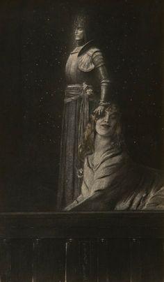 Fernand Khnopff, An Angel (Un ange) c.1900. Technique: Enhanced photograph (picture platinum accented with colored pencils) , 29,5 x 18,4 cm