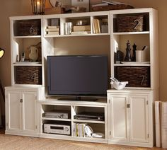 Pb inspired media suite oak entertainment center, diy furniture plans, paint furniture, home Diy Furniture Plans, Paint Furniture, Oak Entertainment Center, My Living Room, Living Area, Living Spaces, Tv Stands, Decoration, Home Projects