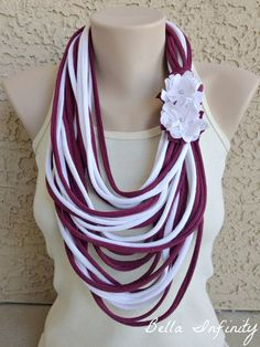 Bella Infinity Floral Scarf Flowers Maroon by BellaInfinityScarves, $25.00 www.facebook.com/infinity0512: Yarn Necklace, Fabric Necklace, Scarf Jewelry, Fabric Jewelry, Scarf Shirt, T Shirt Yarn, Shirt Scarves, Tee Shirt Crafts, Floral Scarf