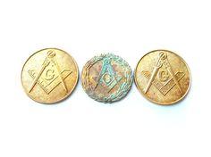 3 Vintage brass freemason mason masonic coins