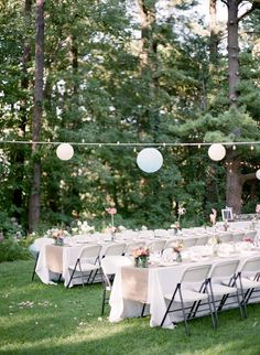 Lovely outdoor lighting without a tent.  I like that these chairs are inexpensive but blend in.  Photography By / http://tanjalippertphotography.com