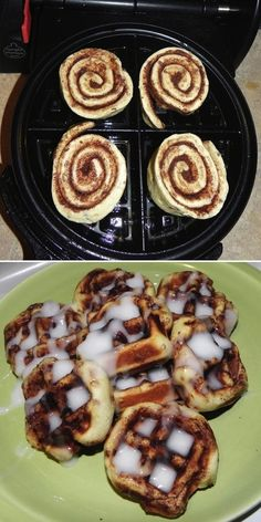 Use your waffle iron to make cinnamon rolls. | 25 Easy Breakfast Hacks To Make Your Morning Brighter