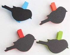 Cute Bird Shaped Wooden Place Card Tags on Assorted Color Mini Clothespins. So cute but so tiny.