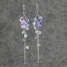 Pink purple blue linear long chandelier earrings Bridesmaids gifts Free US Shipping handmade Anni Designs