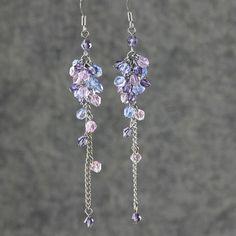 Pink purple blue linear long chandelier earrings handmade ani designs on Etsy, $12.95