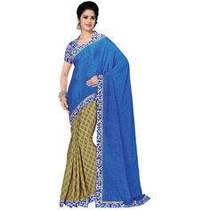 Buy Go Desi Blue Chiffon Saree by Go Desi, on Paytm, Price: Rs.779?utm_medium=pintrest
