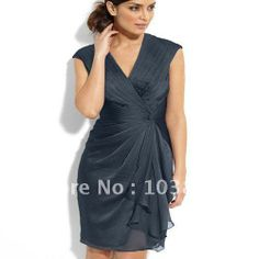 Discount A line V neck Grey Chiffon Mother of Bride Cocktail Dress-in Mother of the Bride Dresses from Apparel & Accessories on Aliexpress.c...