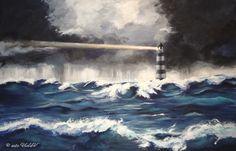 Un mare in tempesta un faro che illumina e traccia la strada, non seguirlo sarebbe rischioso, ma quanta avventura perduta nella paura. Waves, Outdoor, Art, Outdoors, Outdoor Games, Outdoor Living, Beach Waves, Wave