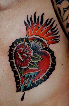 Traditional Sacred Heart Tattoo Designs | Lowdown on Old School Tattoo Designs