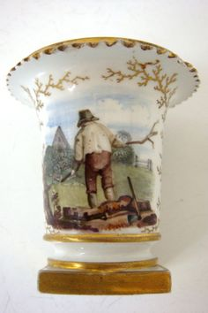 FLIGHT BARR AND BARR WORCESTER PAINTED WOODCUTTER SPILL VASE SEAWEED GILD C1810