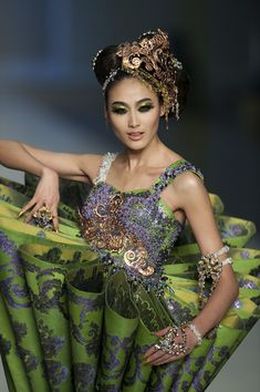 A model showcases designs by Guo Pei of China on the catwalk during the HK Fashion Extravaganza 2010 show as part of the Hong Kong Fashion Week Fall/Winter 2010 on January 18, 2010 in Hong Kong. (January 17, 2010 - Source: Victor Fraile/Getty Images AsiaPac)