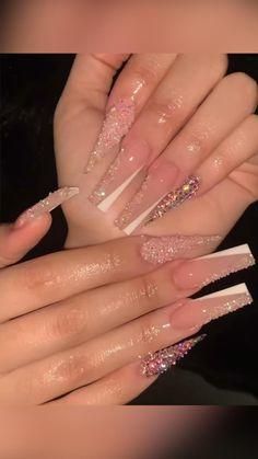 Classy Acrylic Nails, Acrylic Nails Coffin Pink, Short Square Acrylic Nails, Drip Nails, Glow Nails, Bling Nails, Swag Nails, Acrylics, Claws