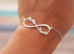 Infinity bracelet custom two name bracelet by JoelleJewelryDesign